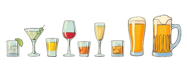 Conjunto de vidro de cerveja uísque vinho gim rum tequila conhaque champanhe coquetel vector fla
