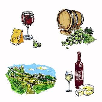 Conjunto de vinha de vinho
