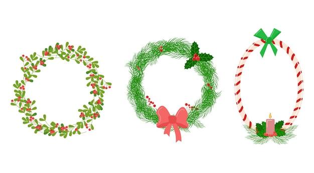 Conjunto de vinhetas de natal coleção de vetores de decorações ovais e circulares florais