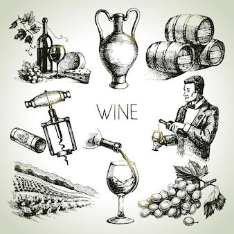 Conjunto de vinho de vetor de esboço desenhado à mão