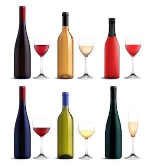 Conjunto de vinho e copo