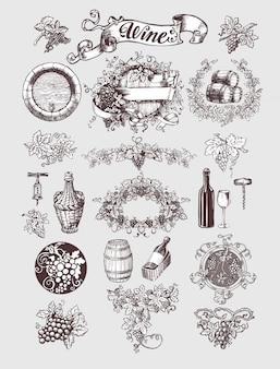 Conjunto de vinho e vinificação vintage.