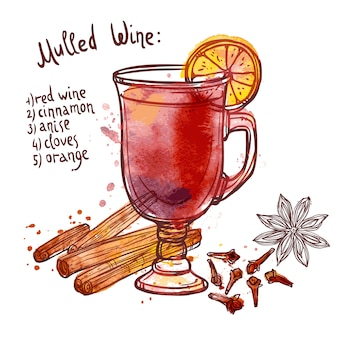 Conjunto de vinho quente