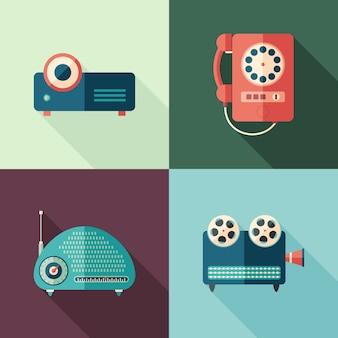 Conjunto de vintage audio e vídeo ícones planas com longas sombras.