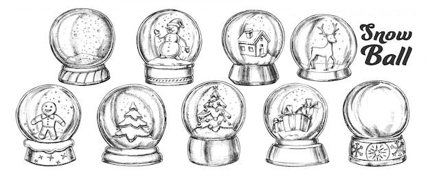 Conjunto de vintage de lembrança de bolas de neve de natal