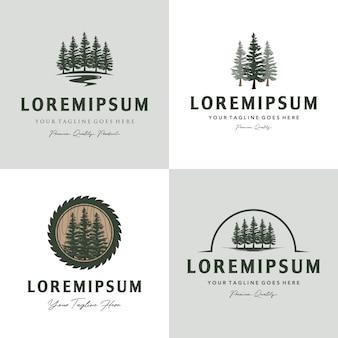 Conjunto de vintage de logotipo de árvore pinho sempre-verde
