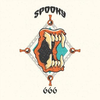 Conjunto de vintage feliz dia das bruxas emblemas e etiquetas.