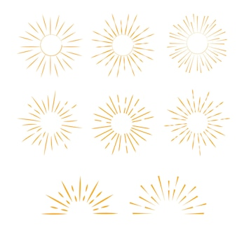 Conjunto de vintage sun burst. raios de luz monocromáticos vetoriais