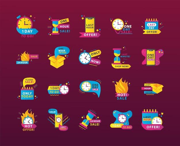 Conjunto de vinte ícones de inscrições de contagem regressiva de venda