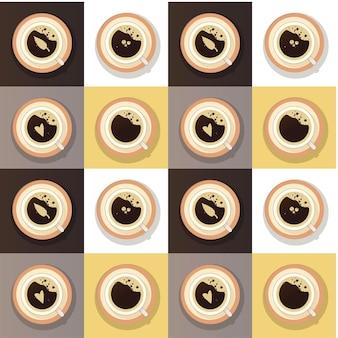 Conjunto de visão superior da xícara de café vetor isolado cappuccino americano espresso mocha latte ou cacau