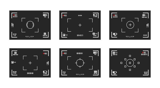 Conjunto de visores de câmera fotográfica telas de gravação de vídeo em fundo transparente