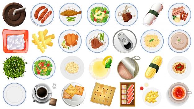 Conjunto de vista aérea de comida