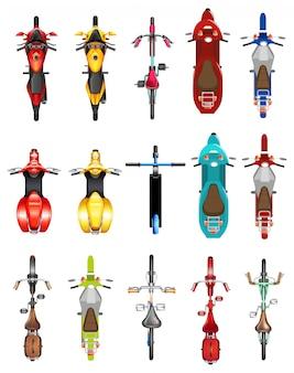 Conjunto de vista aérea de motobike
