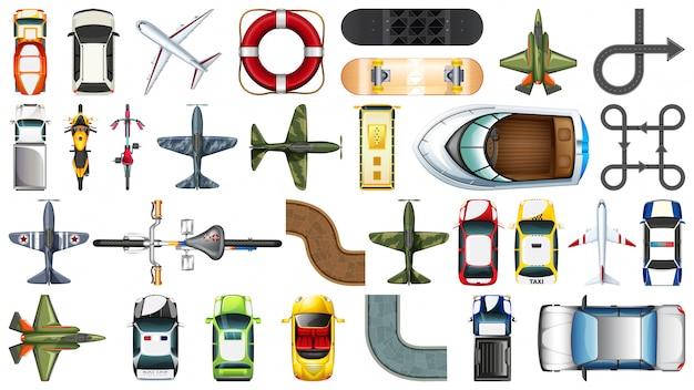 Conjunto de vista aérea do veículo de transporte