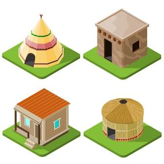 Conjunto de vista agradáveis cabanas indígenas isométricos brilhantes e tendas