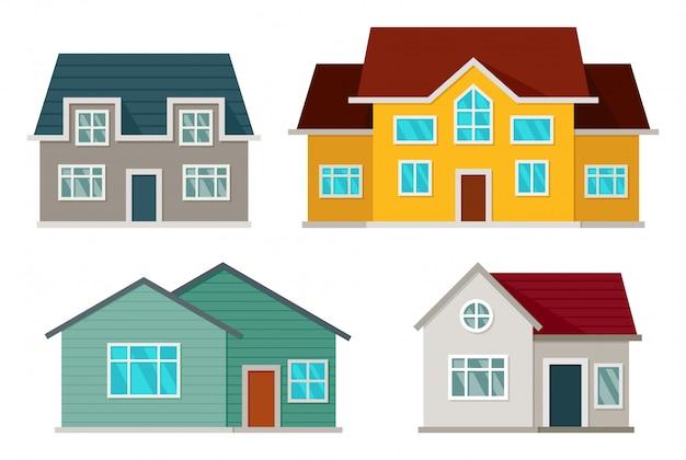 Conjunto de vista frontal de casas