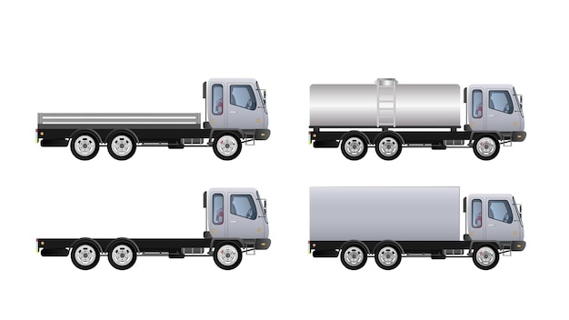 Conjunto de vista lateral de caminhões. entrega de carga.