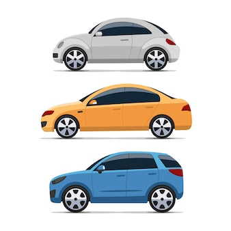 Conjunto de vista lateral de carro design plano