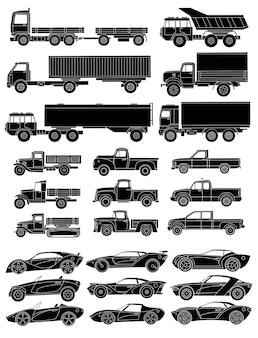 Conjunto de vista lateral de carros desenhados. silhueta negra com detalhes detalhados