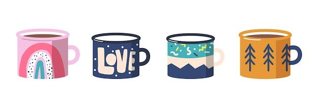 Conjunto de vista lateral de vários copos de chá ou café. canecas com diferentes ornamentos arco-íris, palavra de amor, pinheiros e manchas e padrões abstratos. louças de cerâmica trendy. ilustração em vetor de desenho animado
