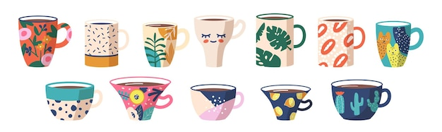 Conjunto de vista lateral de xícaras de chá ou café. canecas com ornamentos na moda cactos, gatos, bolinhas, ramos de folha de palmeira, manchas abstratas e padrões. vários bonitos louças de cerâmica. ilustração em vetor de desenho animado