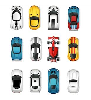 Conjunto de vista superior de carros esportivos