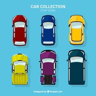 Conjunto de vista superior de seis carros