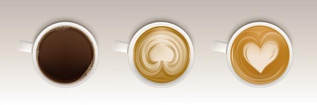 Conjunto de vista superior de xícaras de café, caneca realista com bebida