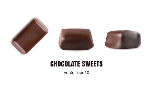 Conjunto de vista superior isolada de bombons de chocolate doce