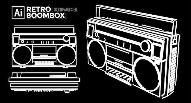Conjunto de vistas da cassete de rádio. desenhos de efeito marcador. cor editável.