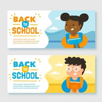 Conjunto de volta desenhada para banners de escola