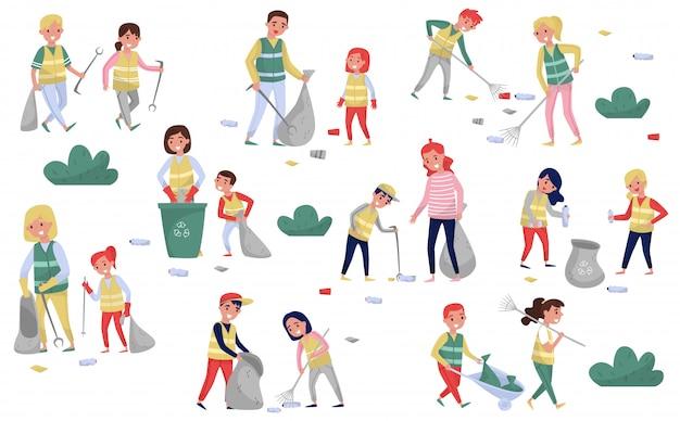 Conjunto de voluntários, coleta de lixo e plástico para reciclagem, pais e filhos que participam do conceito de coleta, proteção ambiental e educação, ilustrações