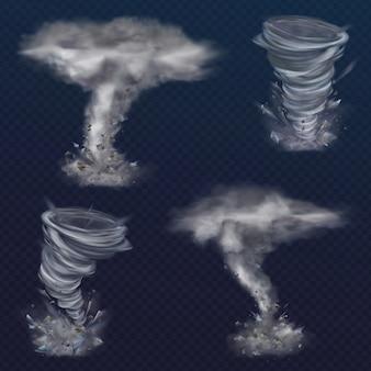 Conjunto de vórtices de tornado realistas. diferentes tipos de redemoinhos com nuvens e fragmentos de vôo