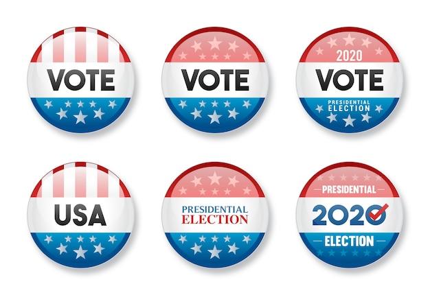 Conjunto de votação em emblema brilhante redondo da eleição presidencial dos eua de 2020