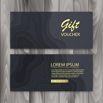 Conjunto de voucher, vale-presente. design com corte de papel escuro