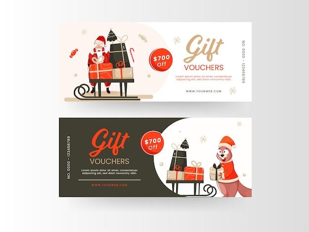 Conjunto de vouchers de presente de natal