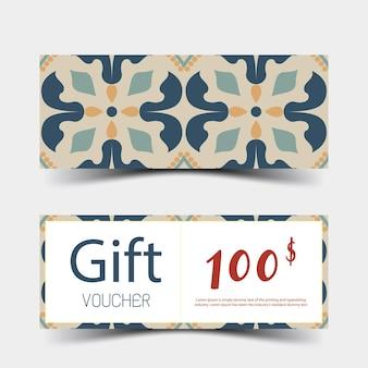 Conjunto de vouchers de presente design colorido