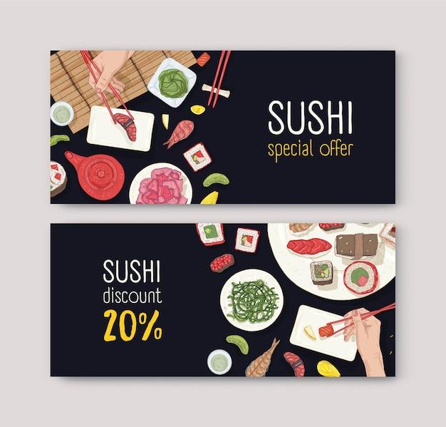 Conjunto de vouchers ou cupons de desconto com comida japonesa e mãos segurando sushi, sashimi e pãezinhos com pauzinhos no preto