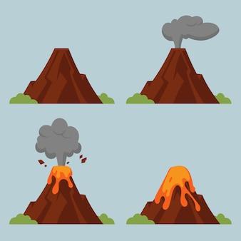 Conjunto de vulcões de diferentes graus de erupção. ilustração do estilo simples com objetos isolados.