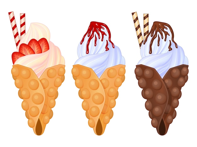 Conjunto de waffle saboroso bolha no fundo branco. estilo realista. ilustração