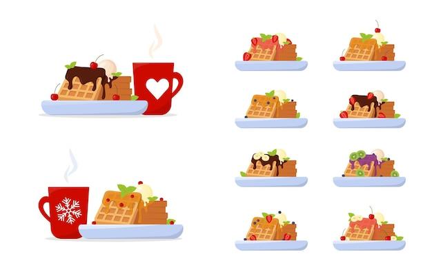 Conjunto de waffles belgas e waffles de café com sorvete de xarope de bordo e frutas vermelhas