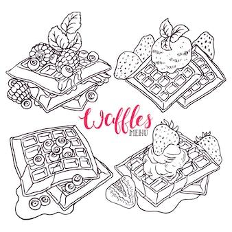 Conjunto de waffles com frutas vermelhas