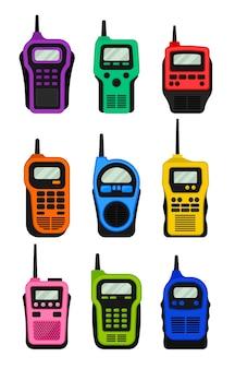Conjunto de walkie-talkies multicoloridos com antena e tela