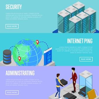Conjunto de web baner de segurança e administração de nuvem de dados