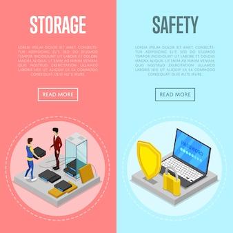 Conjunto de web de banner isométrica de segurança de armazenamento em nuvem de dados