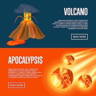 Conjunto de web de banners de erupção vulcânica e apocalipse de meteorito