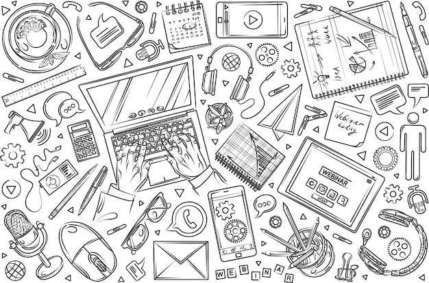 Conjunto de webinar desenhado mão doodle fundo
