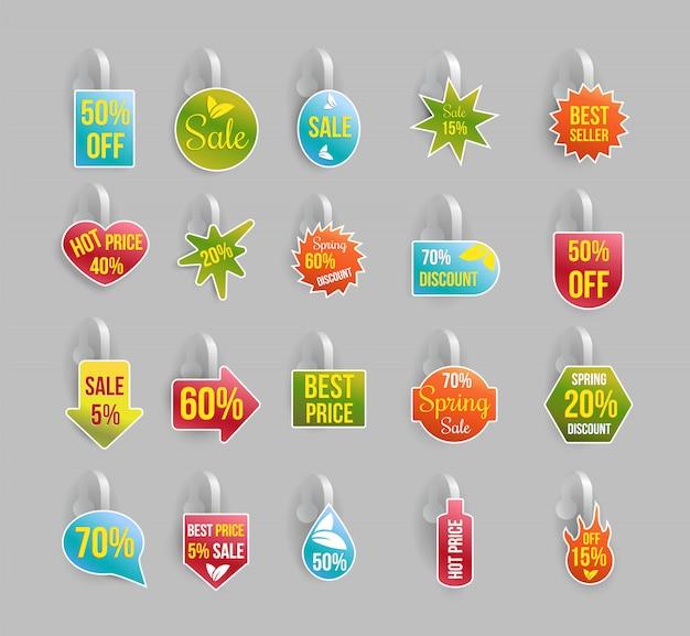 Conjunto de wobbler, etiquetas ou crachás com descontos e ofertas