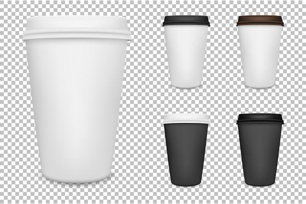 Conjunto de xícara de café de papel em branco realista. .