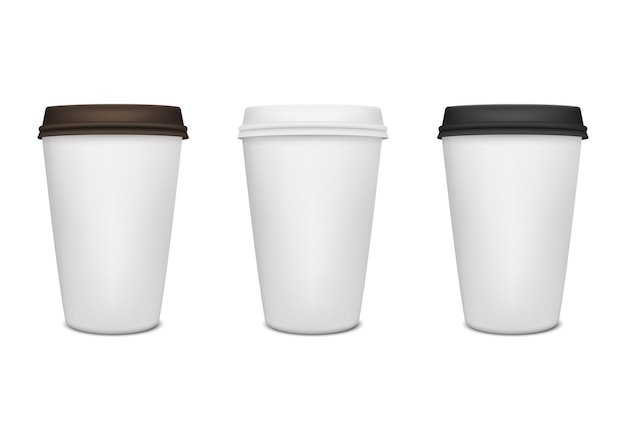 Conjunto de xícara de café de papel realista.
